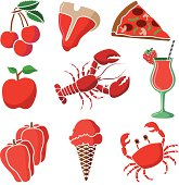 A vector illustration of food that is red in color.