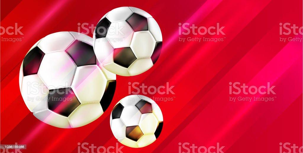Fundo de futebol vermelha com bolas de futebol. - ilustração de arte em vetor