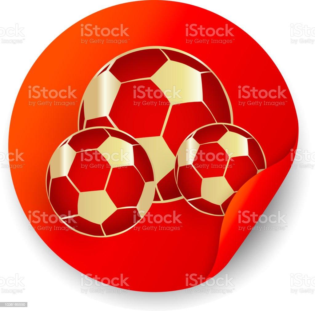 fec5a8f9ee0ed Adesivo de futebol vermelha com bolas de futebol. ilustração de adesivo de futebol  vermelha com