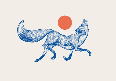Red fox badge. Forest ginger and red sun. Wild animal. Vector Engraved hand drawn Vintage old sketch for stamp, t-shirt or typography