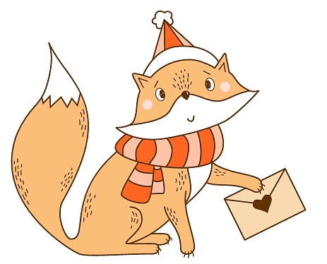 Red Fox in a scarf and a hat with a letter. Winter character - A cute wild animal in clothes. Vector illustration. For childrens collection, print, design, cards and decoration
