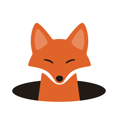 red fox on the cave,watching, vector illustration