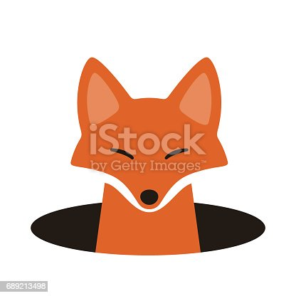 red fox on the hole,watching  vector illustration