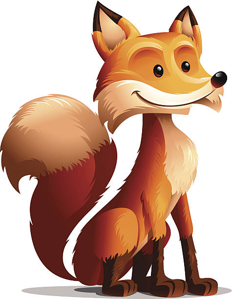 Red Fox: Seated vector art illustration