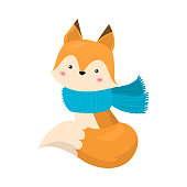 Hand drawn red fox sitting and wearing blue winter scarf over white background vector illustration. Happy winter accessory illustrations concept