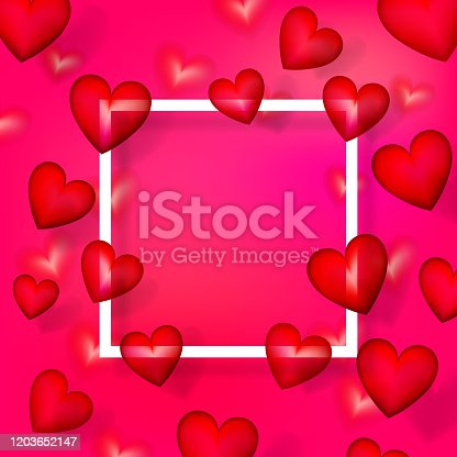 valentine's day red heart love banner frame copy space