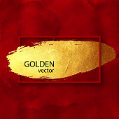 Red Frame with Golden Brush Stroke on Watercolor Red Bckground. Gold Shiny Grunge Texture. Gold Foil Brush Stroke Clip Art. Gold Paint Blot Isolated. Metallic Golden Texture Design Element for Greeting Cards and Labels, Abstract Background.