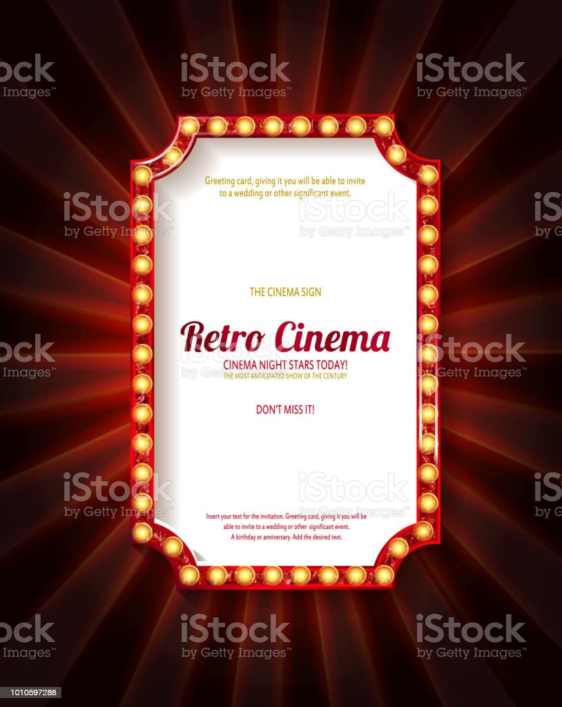 Red frame with light bulbs royalty-free red frame with light bulbs stock illustration - download image now