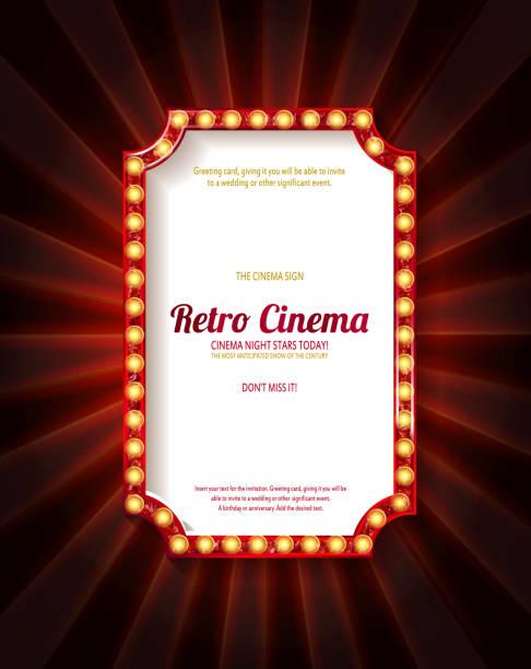 illustrations, cliparts, dessins animés et icônes de cadre rouge avec ampoules - theatre