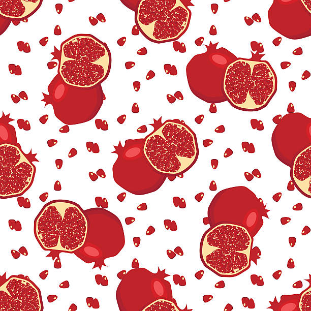 stockillustraties, clipart, cartoons en iconen met red fresh pomegranate pattern vector. - christmas border