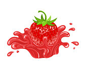 Red fresh realistic strawberry with juice splash isolated on white background. Sweet food. Organic fruit. Vector illustration for any design.