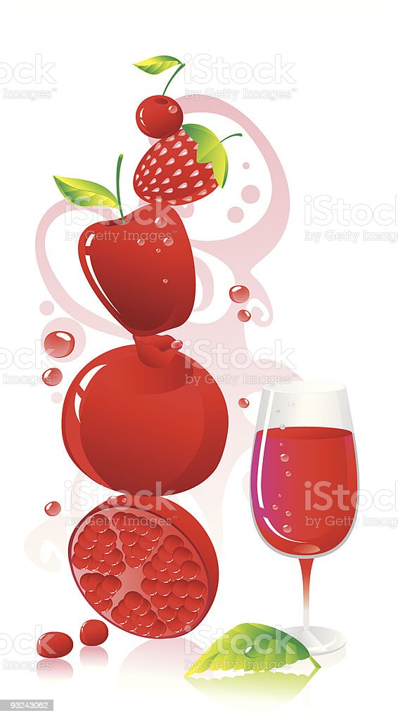 Red fruit and  wine royalty-free red fruit and wine stock vector art & more images of apple - fruit