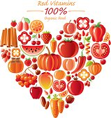 Red fruits and vegetables heart shape