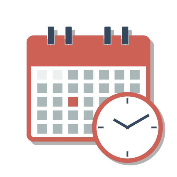 ilustraciones, imágenes clip art, dibujos animados e iconos de stock de rejilla de calendario del mes completo rojo con reloj y fecha seleccionada - calendario abstracto