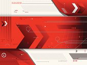 A red futuristic background with lines, arrows, triangles, circles, triangles, numbers, etc.