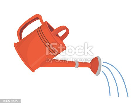 Red garden watering can in use with water shower. Vector isolated object in cartoon style for your design
