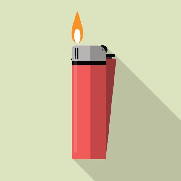 roten gasfeuerzeug mit dem feuer - feuerzeuggas stock-grafiken, -clipart, -cartoons und -symbole