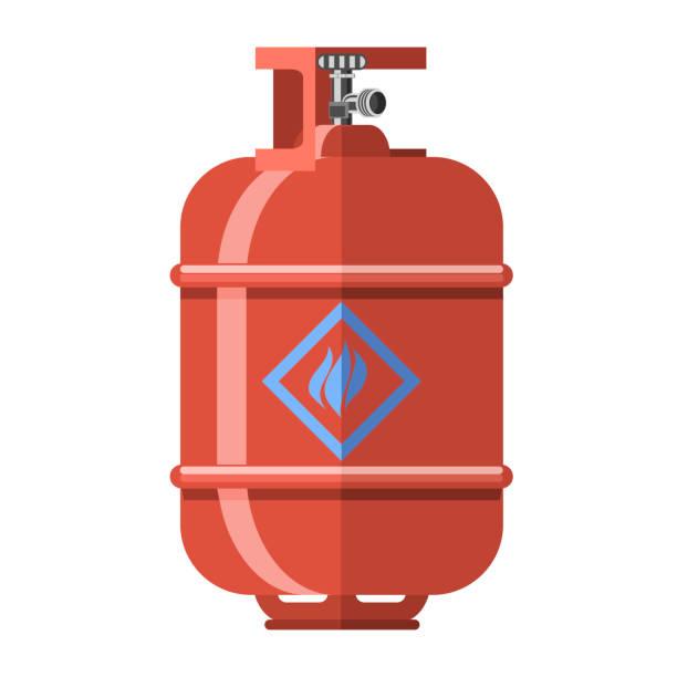 ilustraciones, imágenes clip art, dibujos animados e iconos de stock de icono de tanque de gas rojo - gas