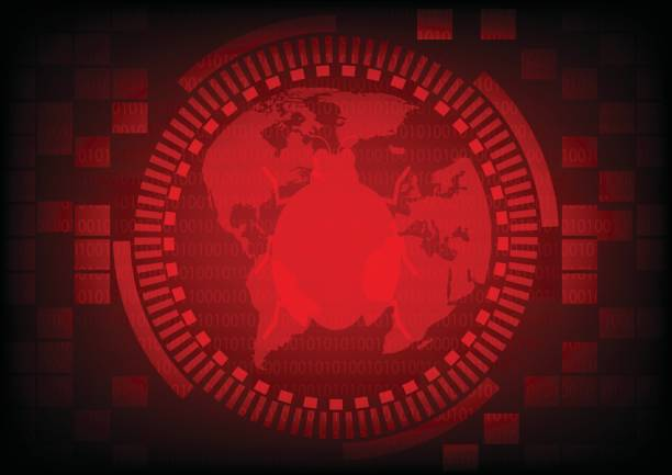 Red gear ring with malware bug a computer virus on world map on binary code background.Vector illustration security technology concept. vector art illustration