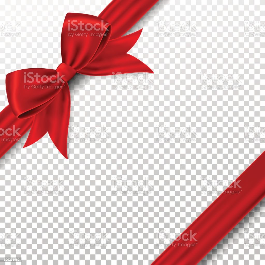 Red gift bow and ribbon, isolated on background. vector art illustration