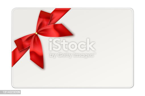 istock Red Gift Bow with Ribbon, Gift Card 1314023209