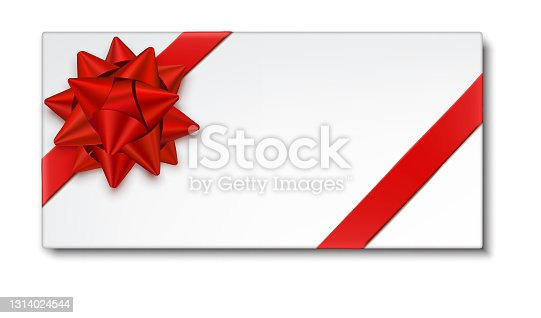 istock Red Gift Bow with Ribbon, Gift Card 1314024544
