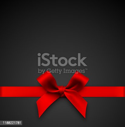 Vector illustration. Red gift bow with ribbon on a black background.