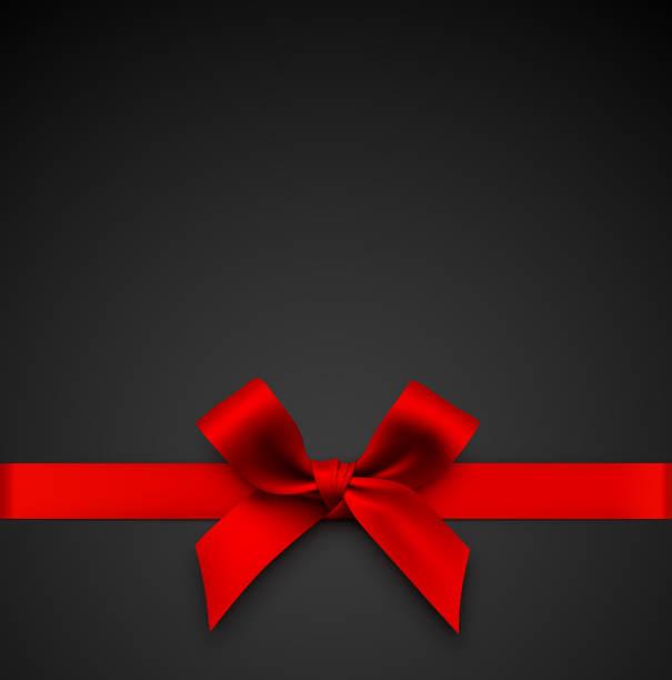 ilustrações, clipart, desenhos animados e ícones de curva vermelha do presente com fita em um fundo preto - laço