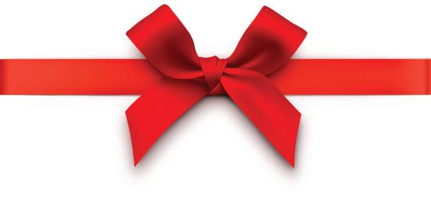 Red Gift Bow with Ribbon vector art illustration