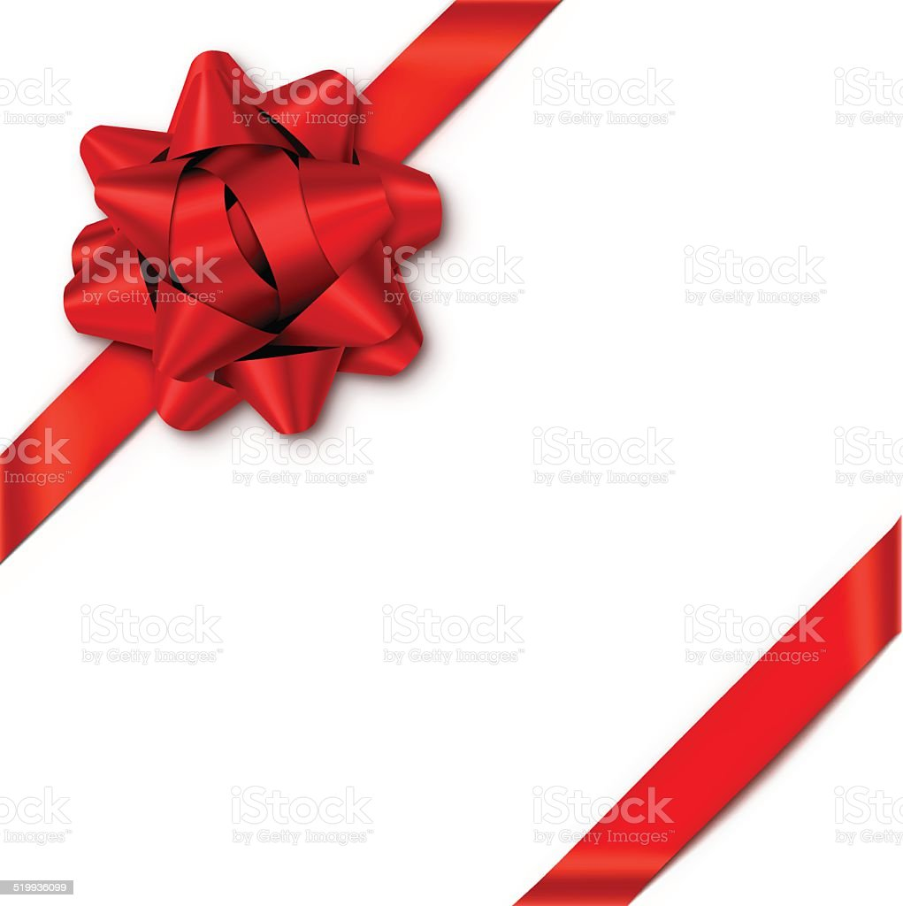 Red Gift Bow with Ribbons Red gift bow with ribbons. EPS10 transparency effect, effect transparent shadows. Above stock vector