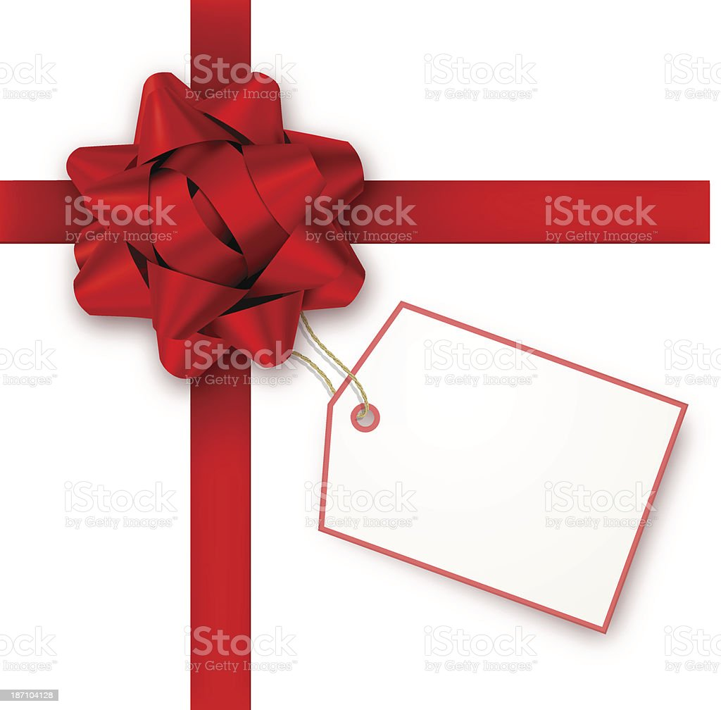 Red Gift Bow with Tag vector art illustration
