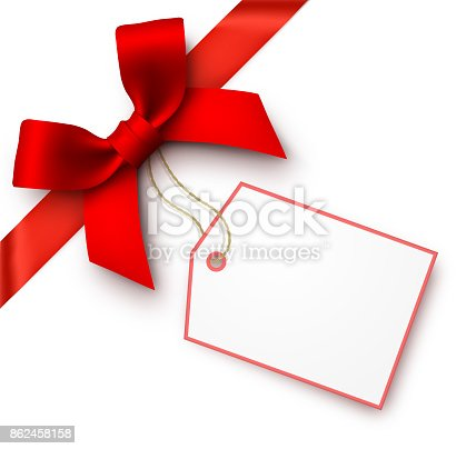 istock Red Gift Bow with Tag 862458158