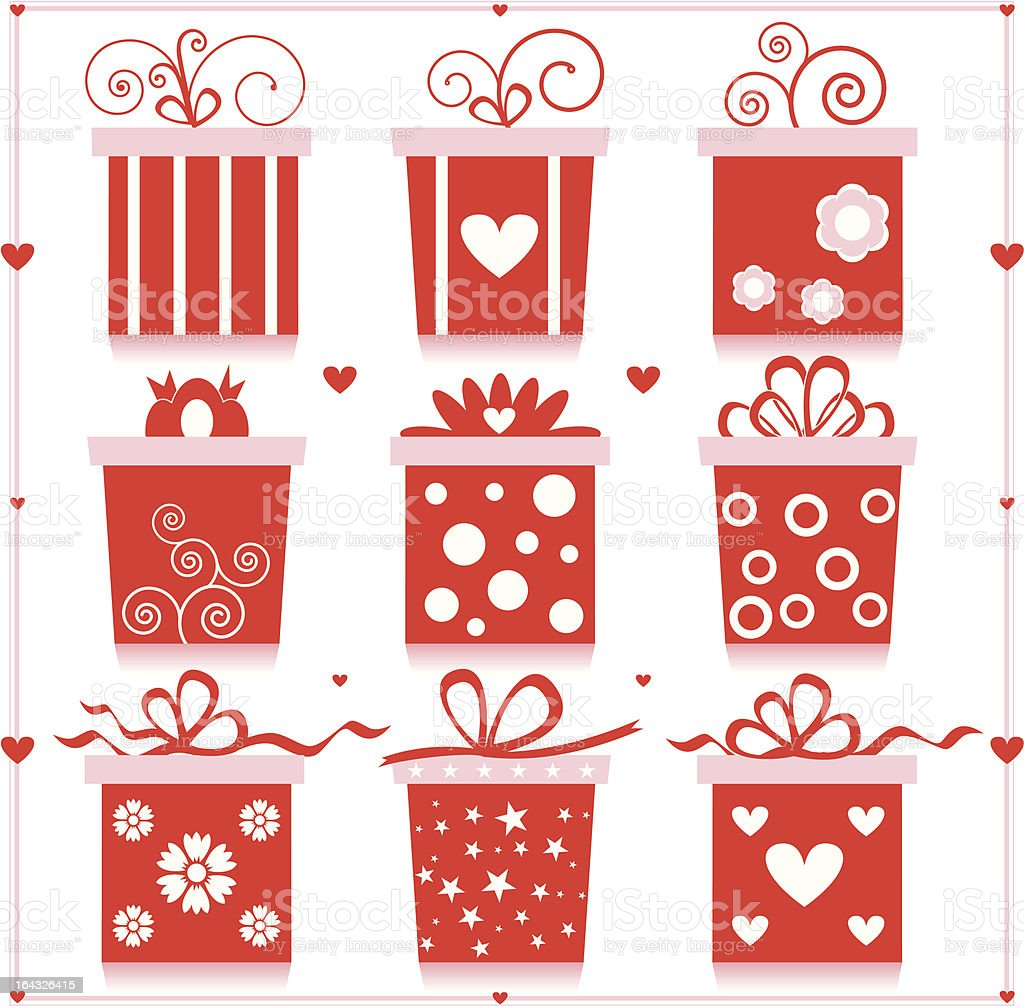 Red Gift Box Set royalty-free stock vector art