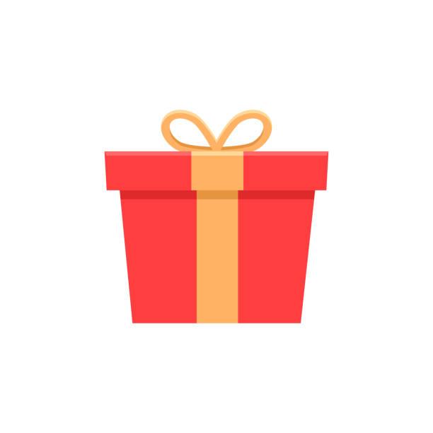 stockillustraties, clipart, cartoons en iconen met rode geschenkdoos. platte pictogram vectorillustratie voor verjaardag, kerstmis, promoties, wedstrijden, marketing, giveaways, enter to win marketing strategieën - birthday gift voucher