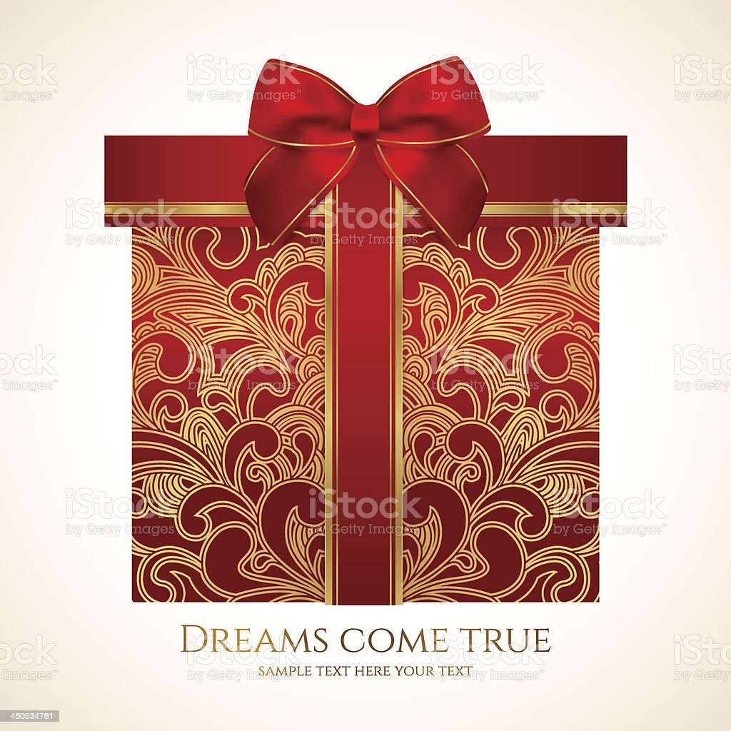 Red gift box with gold floral pattern, bow (ribbon). Present royalty-free stock vector art