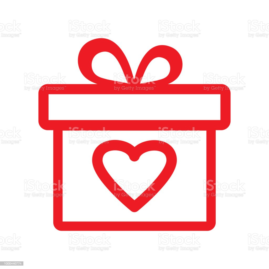 Red Gift Box With Heart Outline Design Gift Icon For Valentines Day