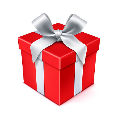 Red Gift Box with Silver Bow