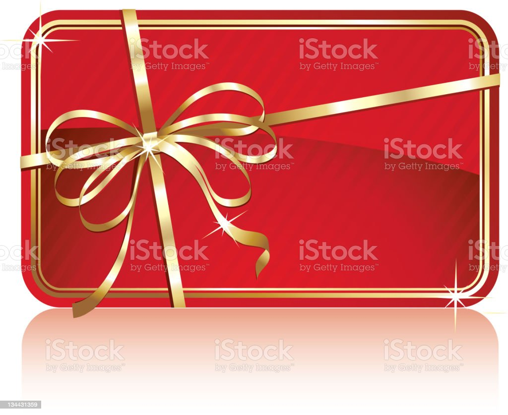Red gift card with bow royalty-free stock vector art