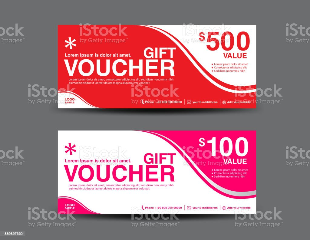 red gift voucher template pink coupon design ticket banner cards