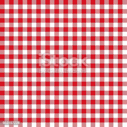 Red color gingham cloth fabric seamless pattern.