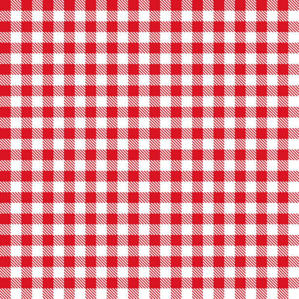 Red Gingham Cloth Fabric Pattern Red color gingham cloth fabric seamless pattern. red cloth stock illustrations