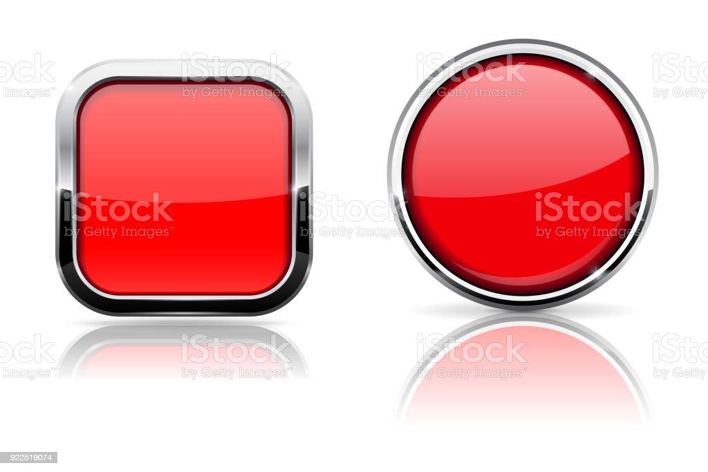 Botones De Cristal Rojo Cuadrado Y Círculo Brillantes Iconos Con ...