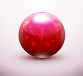 Vector illustration of red refracting Glass marble/button sphere