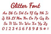 Red glitter font in white background. Vector