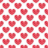Red glitter shiny heart seamless pattern. Glossy sparkles shape abstract background. Vector illustration for print, paper, design, fabric, decor, valentines gift wrap