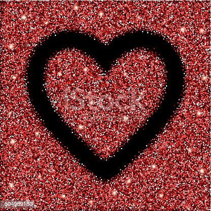 red glitter texture and heart frame. red glitter background for card, gift, luxury, present, shopping. red glitter texture for Valentines day design. Design template for invitation, congratulation