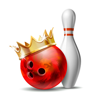 Red glossy bowling ball with golden crown and white bowling pin with red stripes.