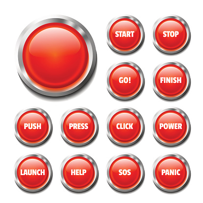 Red Glossy Button Set On White