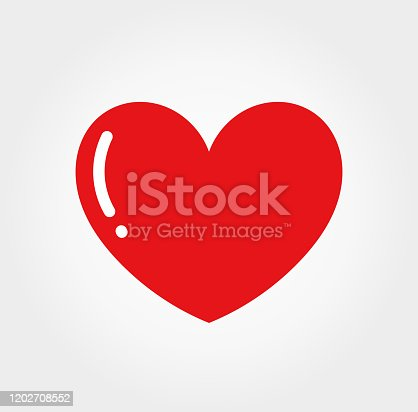 istock Red glossy heart icon. 1202708552