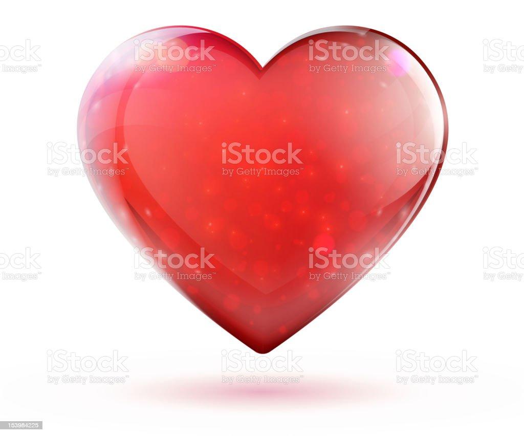 red glossy heart vector art illustration